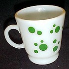 Hazel Atlas white with green dots footed cup or mug