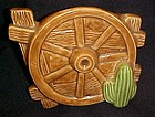 Vintage western  ceramic wagon wheel cactus wall pocket