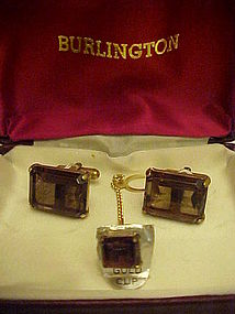 Vintage Smoky topaz cuff links & tie tac set gold cups