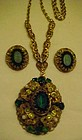Vintage Germany  filigree pendant w/ matching earrings