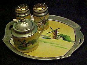 Hand painted windmill sceneTT Lustreware condiment set