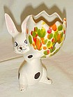 Spotted bunny rabbit  ceramic Easter egg vase