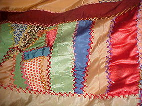 Old silk crazy quilt queen size needs backing