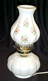 Vintage milk glass electric lamp w/ hand painted globe