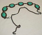 Vintage faux tuquoise and silver concho fashion belt