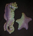 Miller Studios Seahorse and starfish purple and green