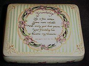 Porcelain Friendship box with poem and forget me nots