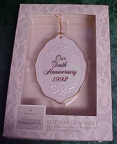 Hallmark 10th Anniversary ornament 1992 retired