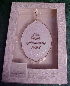 Hallmark 10th Anniversary ornament 1992 retired