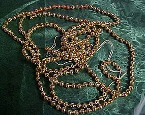Vintage gold mercury beads Christmas garland