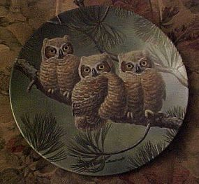 Knowles Three of A Kind Great Horned Owls 4th plate