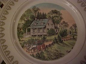 Currier & Ives 4 seasons set of 4 plates Japan