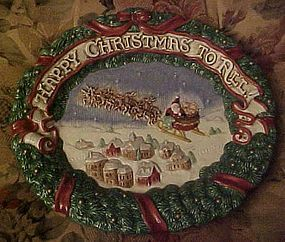 Fitz and Floyd plate Happy Christmas To All 1993