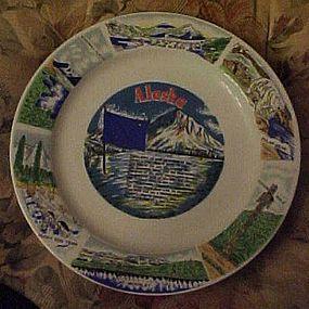 Alaska souvenir plate, poem and points of interest