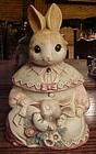 Mervyns glass eyes rabbit cookie jar Mamma and baby