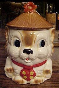 Vintage kitten cookie jar with hat and polka dot tie