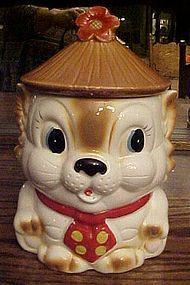 Vintage kitten cookie jar with hat and polka dot tie