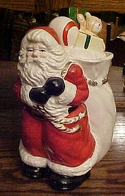 Santa with bag of gifts cookie jar