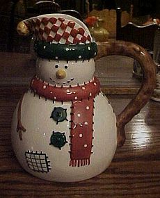 Festive ceramic snowman juice milk pitcher