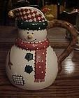 Festive ceramic snowman juice milk pitcher