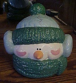 Ceramic Snowman Head cookie jar