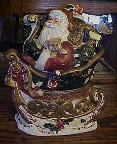 Int'l Art Co Santa and his sleigh ceramic cookie jar