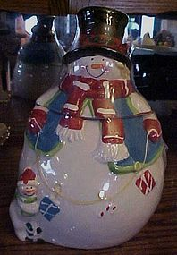 Ceramic Snowman Cookie Jar in box