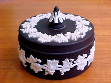 Wedgewood black Jasperware trinket box