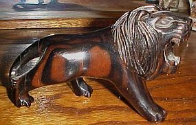 Vitage carved wood roaring lion nice detail