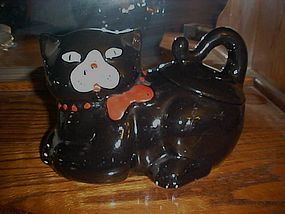 Old Vintage black cat cookie jar