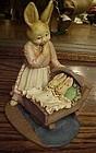 Jim Shore Mama rabbit and twins figurine 1994