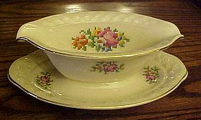 Taylor Smith Taylor Petit-Point Bouquet Gravy boat