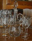 Toscany Wine decanter and glasses set Grape pattern
