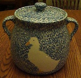 N S Gustin Blue Sponge cookie jar with white Duck
