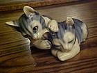 Beautiful ceramic  blue tabby cats figurine