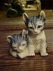 Wonderful ceramic blue tabby cats figurine