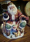 Santa checking his list ceramic cookie jar