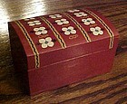 Hand painted Scandinavian  small wood box curved top