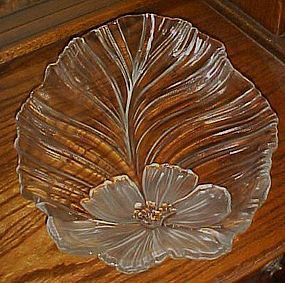 Mikasa Hibiscus frost LARGE glass leaf serving platter