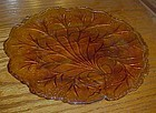 Indiana glass pebble Leaf luncheon plate marigold