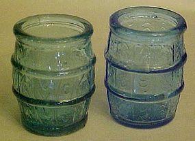 Vintage Barrel shape shot glass, teal or blue Taiwan