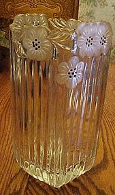 Beautiful Imperlux lead crystal vase frosted flowers