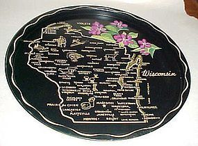 Black metal Wisconsin State souvenir tray