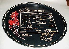 Black metal Wyoming State souvenier tray plate