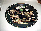 Black metal Montana State souvenir plate tray