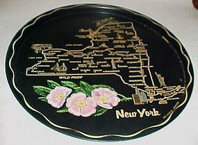 Black metal New York souvenir plate tray