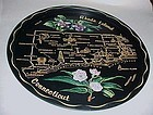 Black metal Rhode Island Conneticut souvenir tray