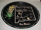 Black Metal New Mexico State souvenir plate tray