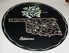 Black metal souvenir Oklahoma state plate tray
