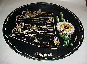 Black metal souvenir Arizona state plate tray